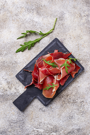 Traditional Spanish cured meat jamon Banco de Imagens