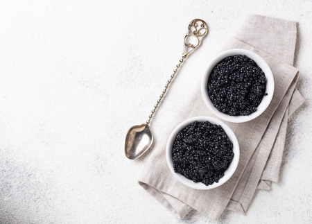 Sturgeon black caviar in bowls