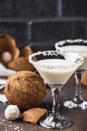 Coconut martini or Margarita. Alcoholic cocktail Stok Fotoğraf