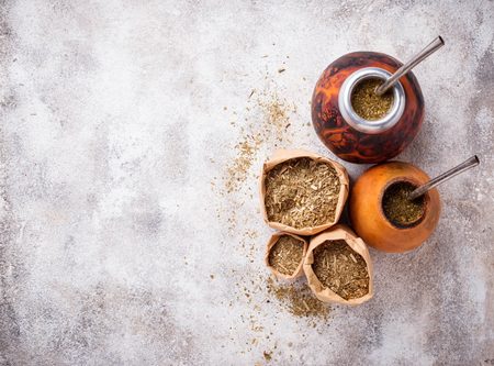 Traditional Argentina yerba mate tea Stockfoto