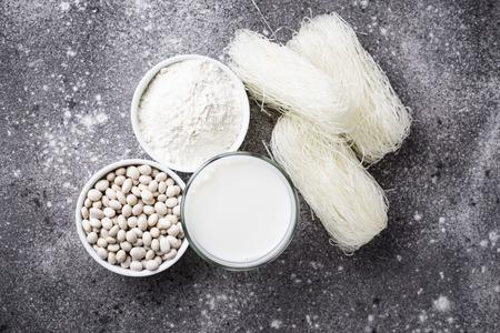 Gluten free soybean flour, bean funchoza noodle and non-dairy milk Stok Fotoğraf