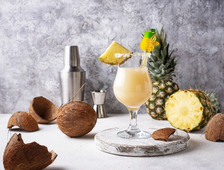 Pina colada cocktail with coconut and pineapple