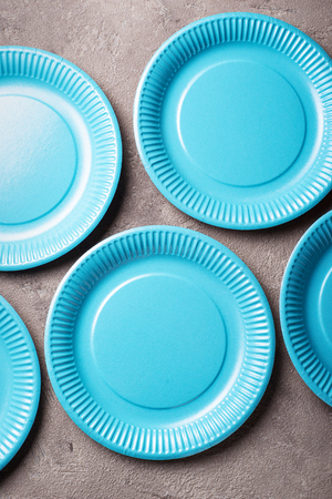 Eco friendly blue paper plate Stock Photo
