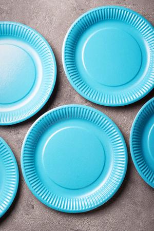 Eco friendly blue paper plate 版權商用圖片