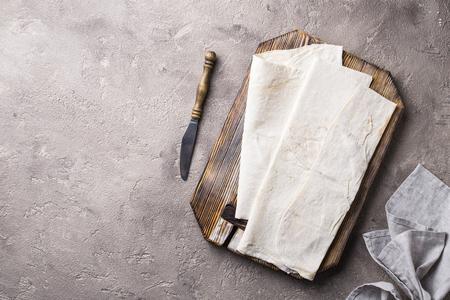 Armenian flat bread lavash on table. Top view Stock fotó
