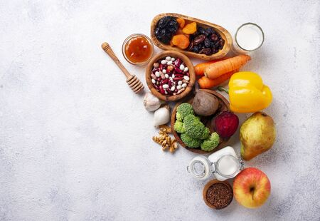 Products for healthy bowel. Natural food for gut
