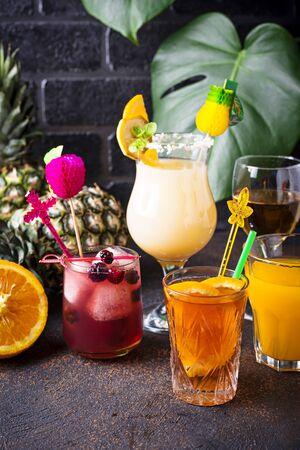 Set of different summer cocktails and juice Reklamní fotografie