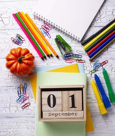 Different colorful stationery for student. Back to school concept