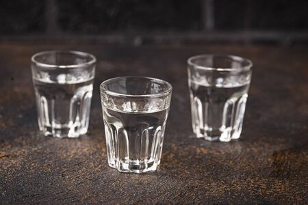Glasses of traditional Russian alcoholic drink vodka