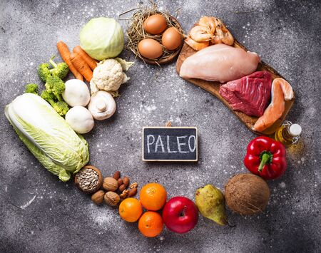 Paleo diet. Healthy high protein and low carbohydrate products