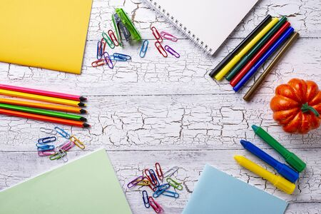 Different colorful stationery for student Foto de archivo