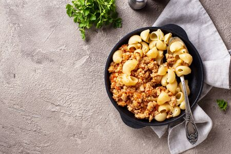 Pasta Bolognese with meat sauce. Traditional Italian dish