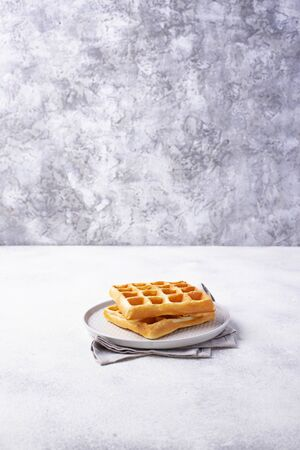 Waffles with strawberries and banana Stock Photo