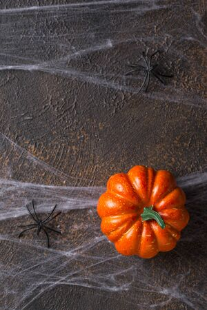 Halloween background with spider web and pumpkin. Space for text