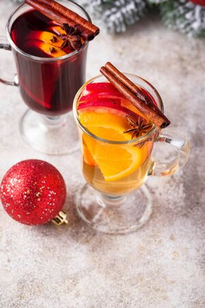 Red and white mulled wine. Hot winter drinks
