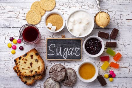 Unhealthy products high in sugar. Simple carbohydrates food. Banco de Imagens