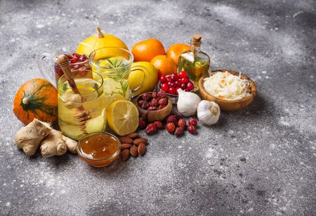 Healthy products for Immunity boosting and cold remedies. Winter vitamins food