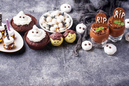 Assortment of Halloween treat for children party. Sweet snack bar