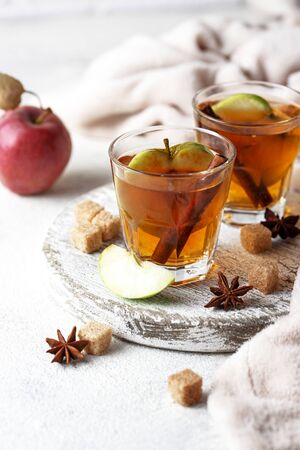 Spicy apple cider, traditional hot autumn drink