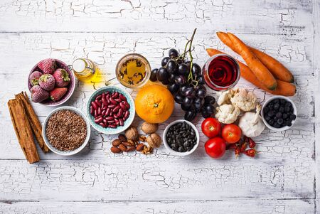 Cancer fighting products. Food for healthy life. Fruits, vegetables, beans, green tea and red wine Banco de Imagens