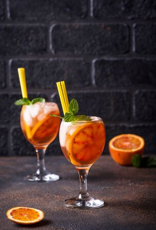 Spritz, Italian cocktail with orange
