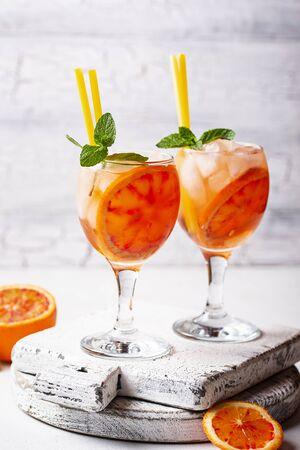 Spritz, Italian cocktail with orange and ice Фото со стока
