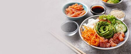 Hawaiian poke bowl with salmon.