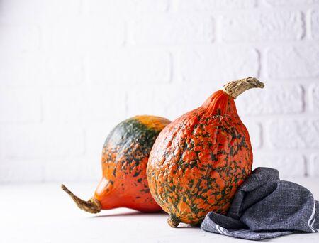 Raw hokkaido pumpkins on light background Фото со стока