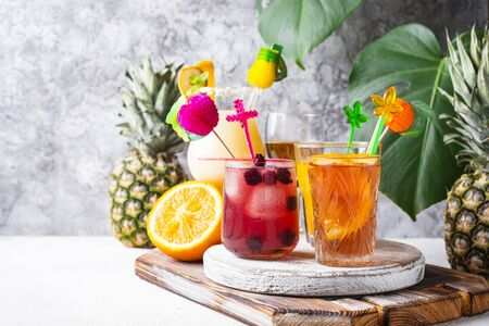 Set of different summer cocktails