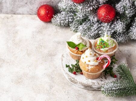 Christmas festive cupcake with different decorations Stock fotó