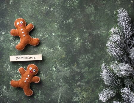 Christmas gingerbread men made of felt Zdjęcie Seryjne