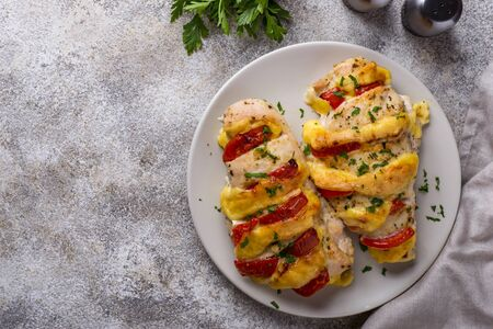 Baked chicken breasts with cheese and tomato Stock fotó
