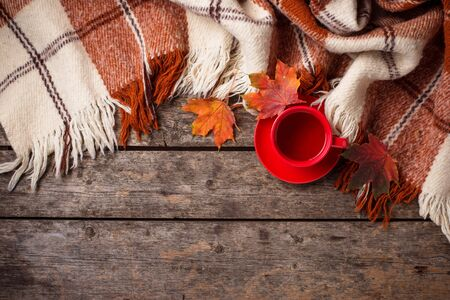 Autumn background with cup of tea, plaid and leaves Reklamní fotografie - 129267959