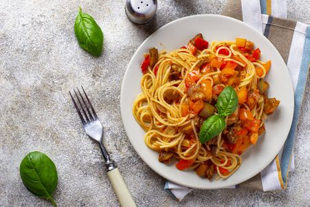 Pasta with eggplant, pepper and tomatoes
