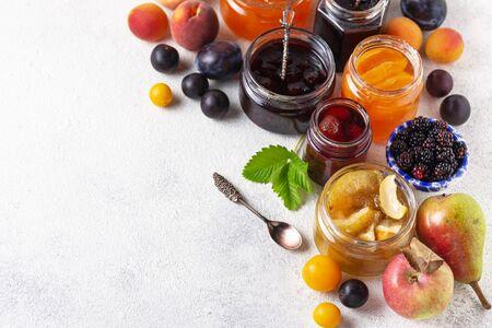 Assortment of different jams in jars