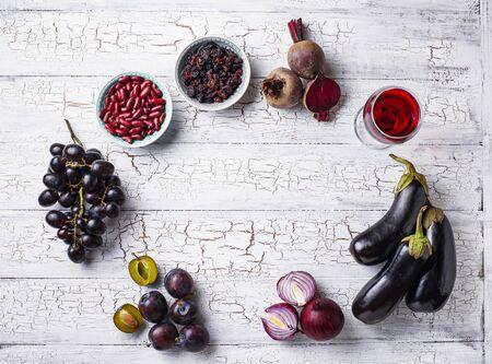 Collection of various purple food Archivio Fotografico - 129405305
