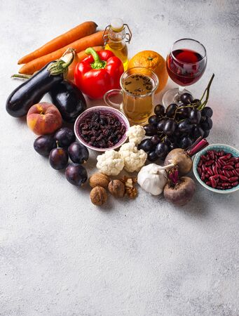 Antioxidants in products. Clean eating Stock Photo