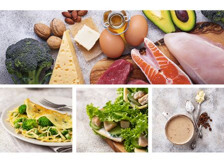 Healthy low carbs dishes and ketogenic products. Keto diet. Food collage Stock Photo