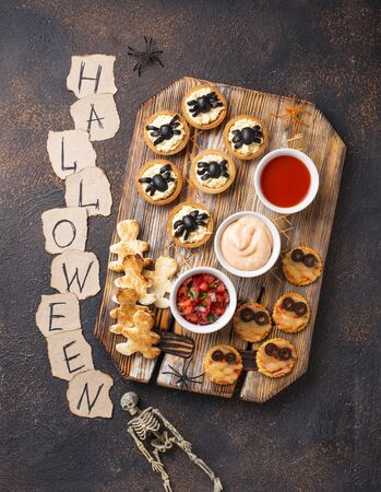 Scary appetizers for Halloween party. Festive food for 31 October Zdjęcie Seryjne