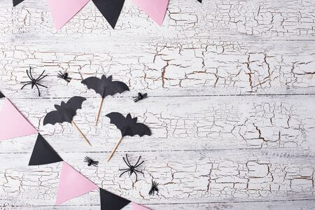Decoration for Halloween in black and pink colors