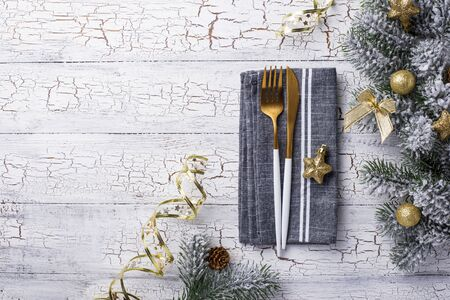 Christmas table setting and golden decor. Top view Stock Photo