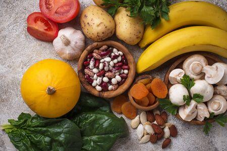 Products containing potassium. Healthy food concept. Top view Reklamní fotografie