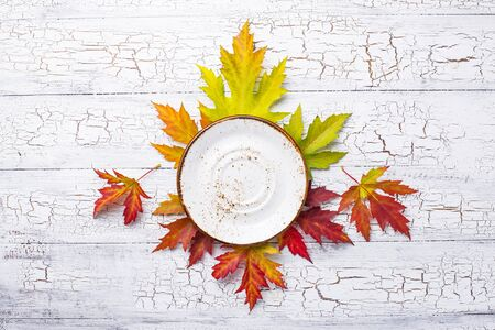 Autumn background with plate and leaves