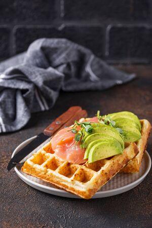 Keto cheese waffle with avocado Stockfoto