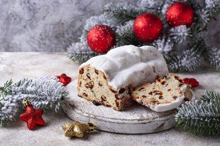 Traditional German Christmas cake stollen