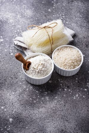 Gluten free rice flour, grain and noodles grey