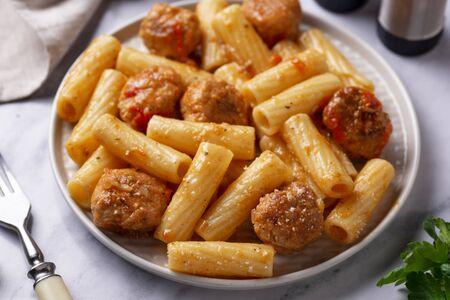 Pasta with meatballs in tomato sauce. Italian food Stock fotó