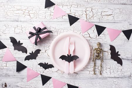 Halloween black and pink table setting