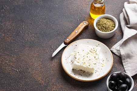 Fresh feta cheese with olive oil and spices Stock fotó - 133403217
