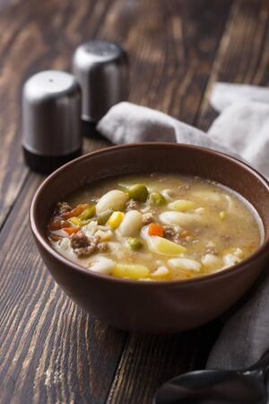 Busy day soup with vegetable and minced meat